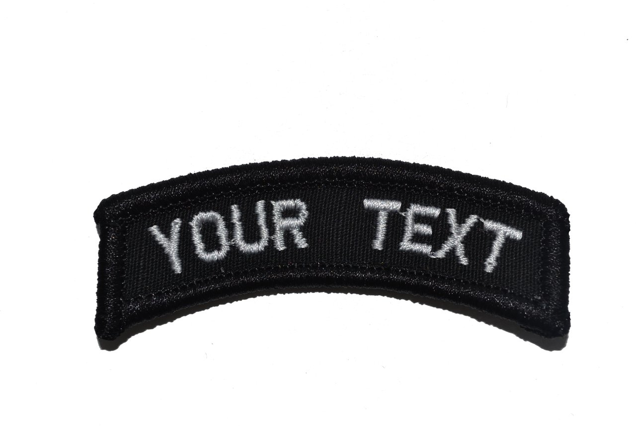 Black Customizable Text Tab Patch w//Hook Fastener Morale Patch