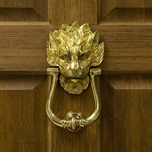 Head Brass Small Knob Lion (Casa Hardware Solid Brass Large Lion's Head Door Knocker in Polished Brass Finish)