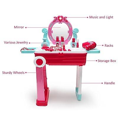 Centro de Belleza 2 en 1 Juego de Imaginación Maletín Set con Accesorios Luces y Sonidos en Maleta Convertible, Rosa: Juguetes y juegos