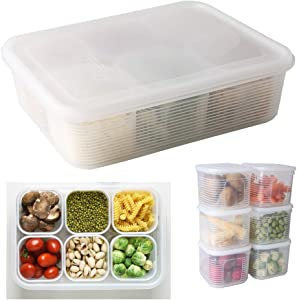 Fridge Food Storage Container- Reusable Fresh Produce Divided Fruit Storage Organizer Plastic Produce Organizer with 6 Detachable Small Boxes to Keep Fresh for Storing Fish, Meat, Vegetables