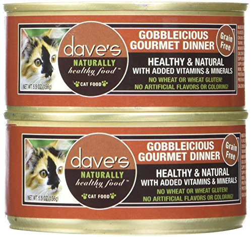 - Dave'S Naturally Healthy Gobbleicious Gourmet Dinner For Cats, 5.5 Oz Can (Case Of 24 )