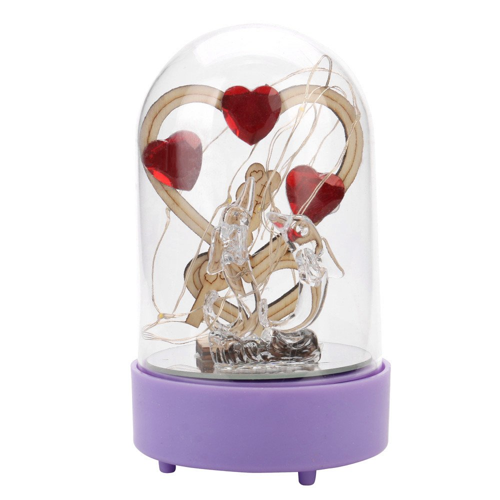 Glumes Rose Light for Beauty and The Beast,Red Silk Rose and Led Light with Fallen Petals in Glass Dome on Wooden Base, for Valentine's Day Wedding Anniversary Mother's Day Birthday Holiday Party (C)