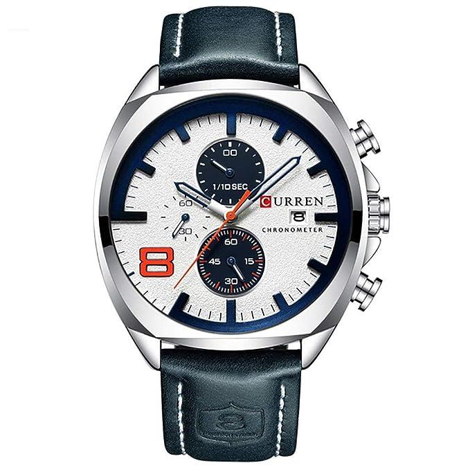 Amazon.com : XBKPLO Quartz Watches Mens Fashion Sport Waterproof Analog Wrist Watch Large Dial Automatic Calendar Leather Strap Watch Jewelry Gift : Pet ...