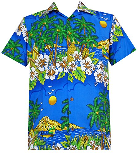 Alvish Hawaiian Shirts Mens Floral Scenic Beach Aloha Party Camp Short Sleeve Holiday