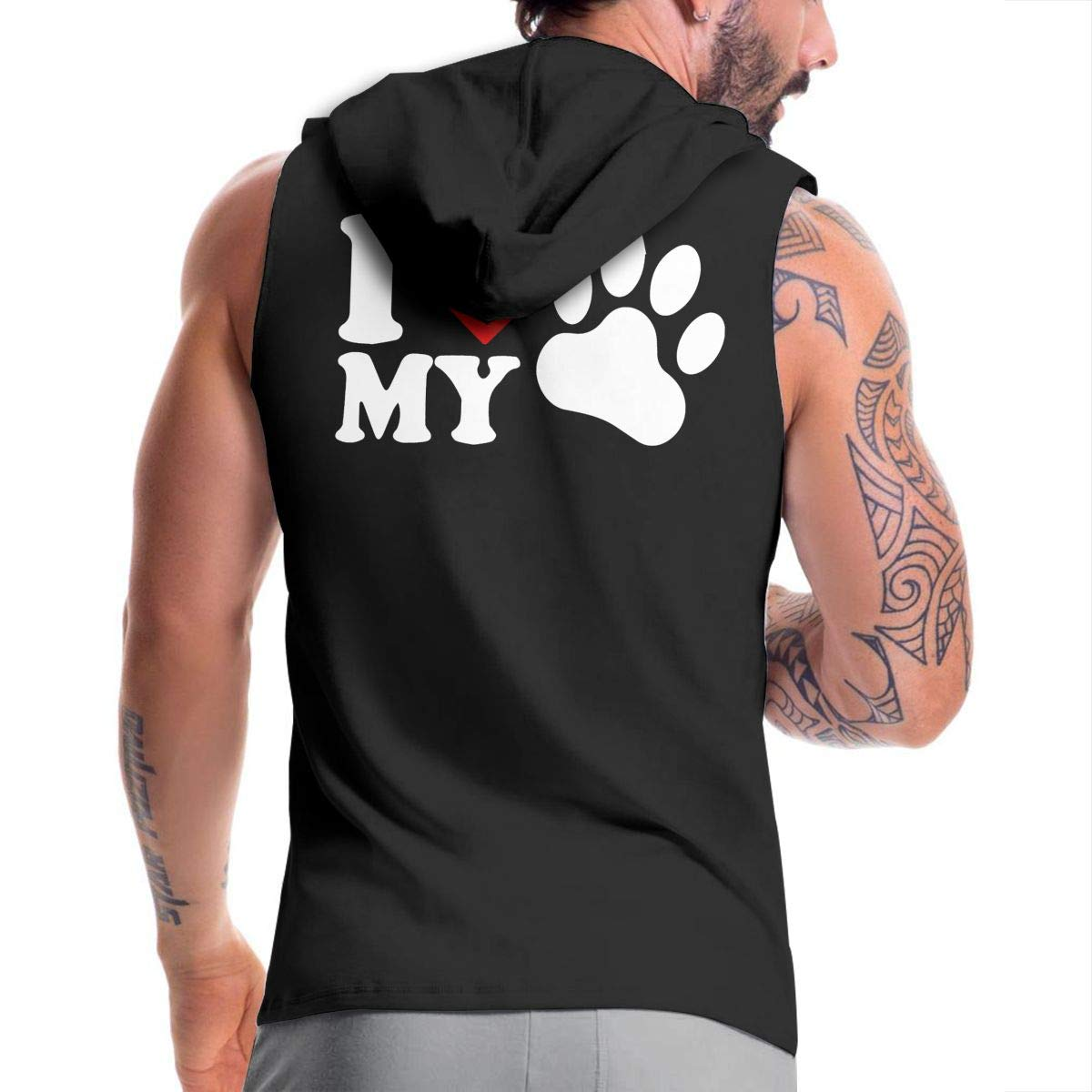 Mens Sleeveless Hoodie I Love My Dog-1 Zip Up Tank Tops
