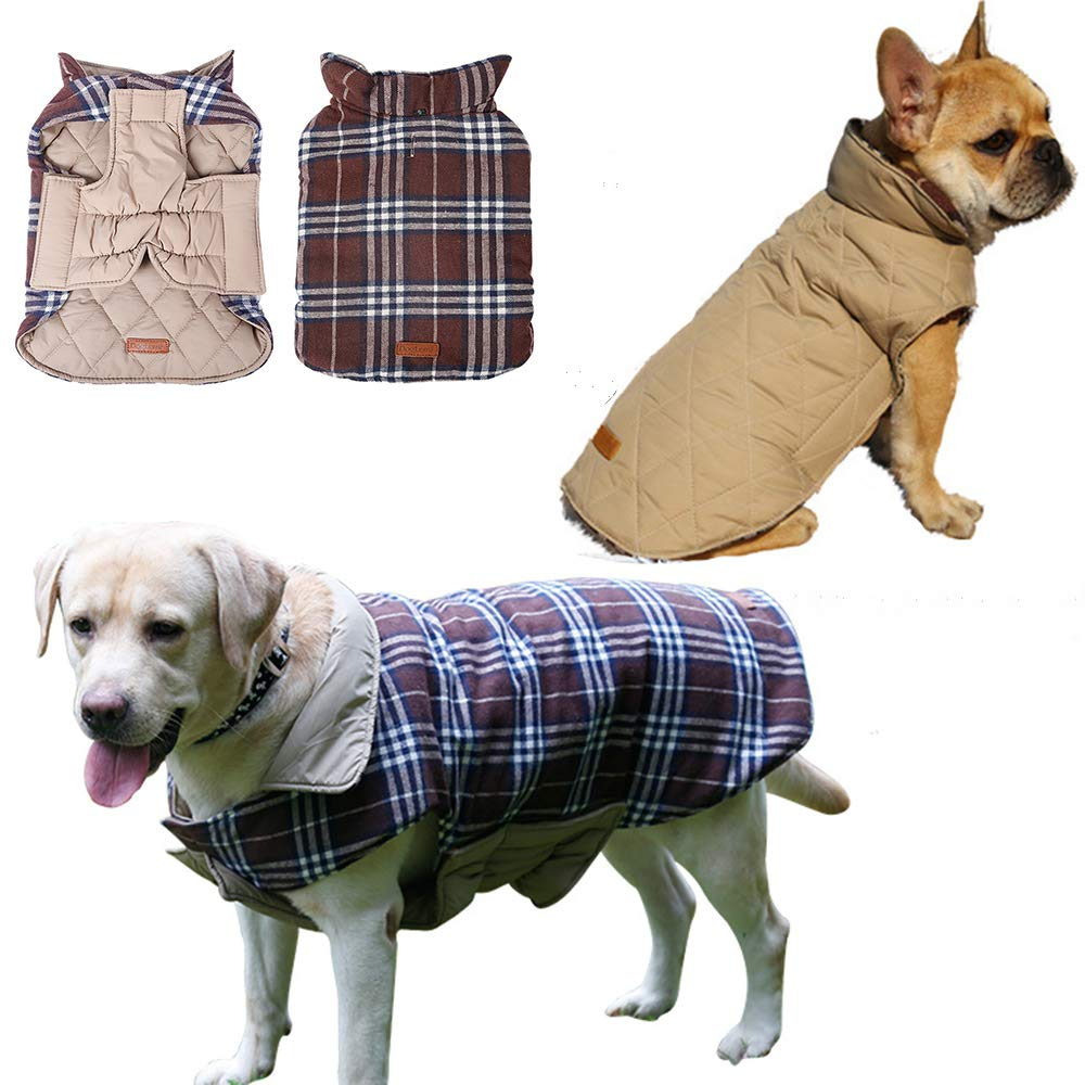 Brown Tag XL=US L brown Tag XL=US L J.Market Warm Winter Coats for Dog Waterproof Windproof Winter Jacket Grid Plaid Reversible Coat Size M to XXL Available(Tag XL=US L,Brown)