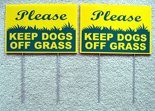 (GVGs Shop 2 Pcs Superlative Popular Please Keep Dogs Grass Warning Signs Outdoor Plastic Against Dirt Size 8