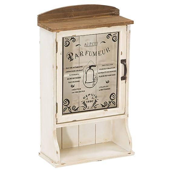 Miavilla Wandschrank Parfumeur - Shabby Chic - Holz - Antik-Weiß ...