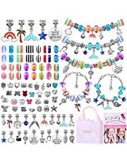 Bracelet Making Kit for Girls, Flasoo 85PCs Charm Bracelets Kit with Beads, Jewelry Charms, Bracelets for DIY Craft, Jewelry Gift for Teen Girls