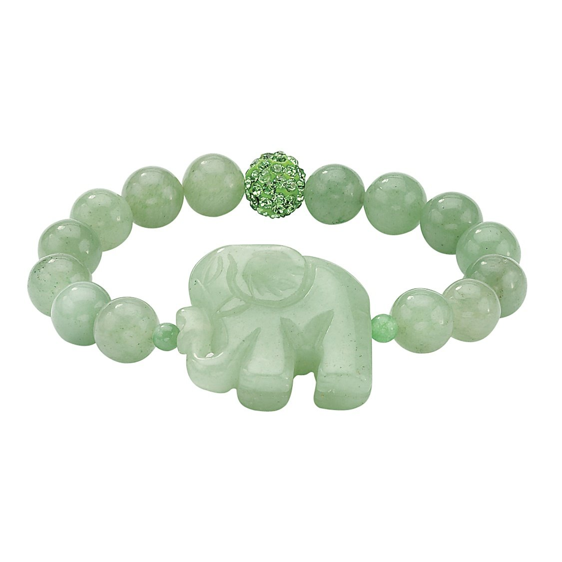 Palm Beach Jewelry Green Agate and Crystal Accent Elephant Stretch Bracelet (10mm), 8''