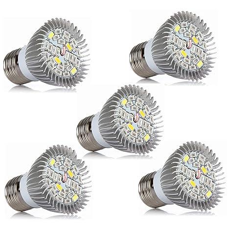 Cicongzai Bombilla LED para cultivo, AC85-265V, 5W de espectro completo para bombillas