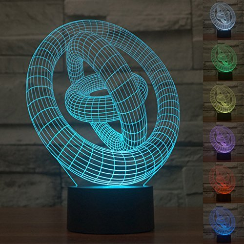- SUPERNIUDB 3D Circle Night Light 7 Color Change LED Table Lamp Xmas Toy Gift