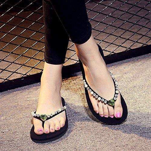 Plage 1 HAIZHEN pour étudiant Chaussons EU37 pour 8 CN37 à Mode 4 UK4 d'été Taille Simple 5 à Couleur Chaussures Pantoufles Femmes la antidérapants Plats 9 Couleurs avec la Femmes wBEZqE