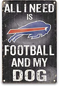 YOMIA Football Team Sign for Buffalo Bills, Bar Pub Club Garage Metal Poster Tin Signs 8 X 12 Inches