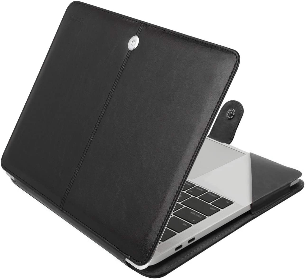 MOSISO Case Compatible with 2020-2018 MacBook Air 13 A2179 A1932 / 2020-2016 MacBook Pro 13 A2251/A2289/A2159/A1989/ A1706/A1708, Premium PU Leather Folio Protective Stand Cover Sleeve, Black