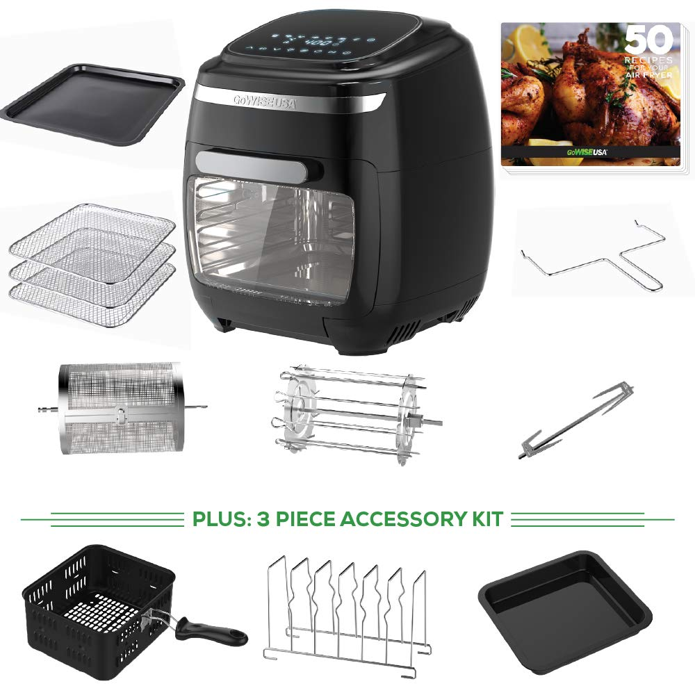 GoWISE USA 11.6-Quart Air Fryer Oven with Rotisserie and Dehydrator Functions + 8 Piece Accessory Set + 3 piece Accessory Kit+ 50 Recipes, Vibe (Black)