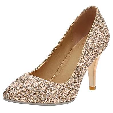 Aiyoumei Spitz High Heel Stilettos Damen Glitzer Mit Pumps 8cm bgY76fy