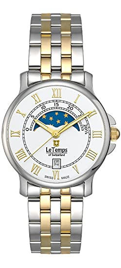 Le Temps of Switzerland Mujer Reloj bicolor, fase lunar Ø 35 ...