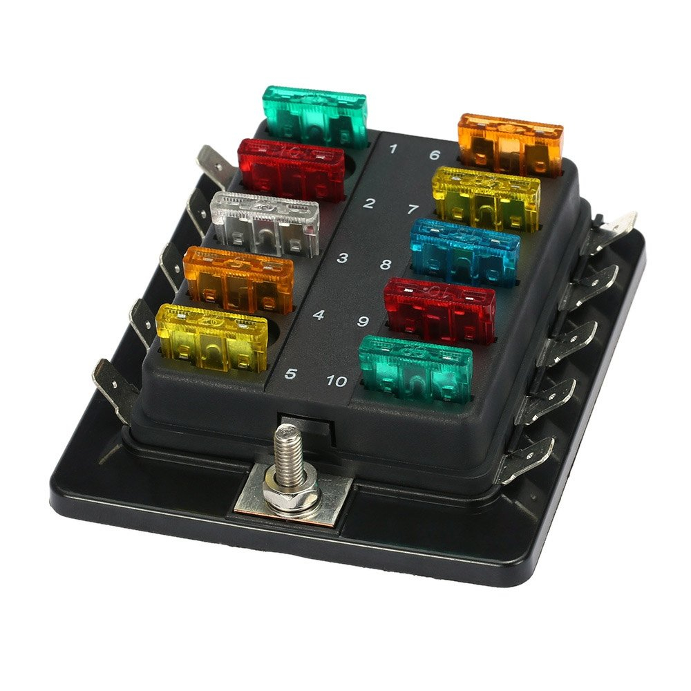 610vlccXNqL._SL1000_ amazon com ninth city 10 circuit led fuse block and cover kit car boat fuse box at cos-gaming.co