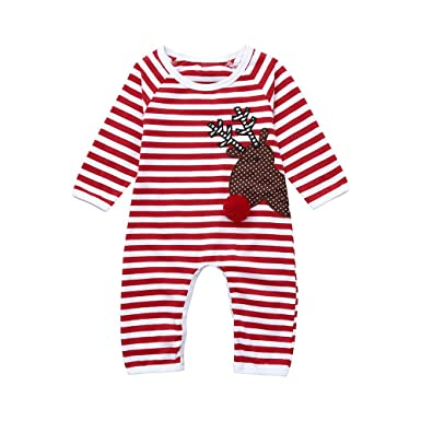fdb05c66794 Amazon.com  Hatoys Christmas Newborn Infant Baby Girl Boy Striped Deer  Romper Jumpsuit  Clothing