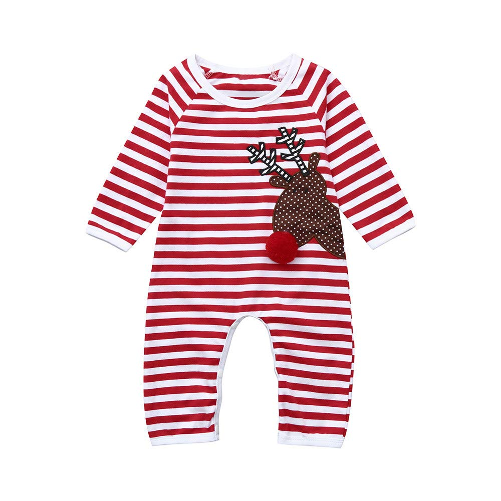 Memela Baby Clothes,Christmas Newborn Infant Baby Girl Boy Striped Deer Romper Jumpsuit Clothes