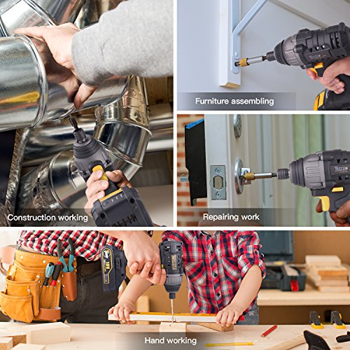 Combo Kit of TECCPO 20V Max TDHD01P Cordless Drill Driver 60Nm Max Torque, and TDID01P Impact Driver 180Nm Max Torque with 2x 2.0Ah Lithium-Ion Batteries, 30 Minute Fast Charger by TECCPO (Image #2)