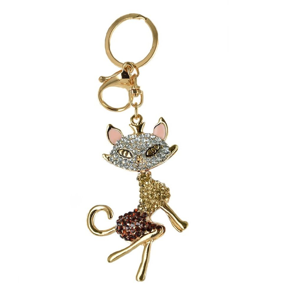 Twinkle Fashion Keyring - Czech Crystals Keychain - Sexy Cat with Rhinestones (Brown)