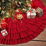 Christmas Tree Skirt 48 Inches Red Burlap Ruffled with Ribbon Bowknot Xmas Tree Ornament Holiday Decoration New Year Party Supply by Depp's