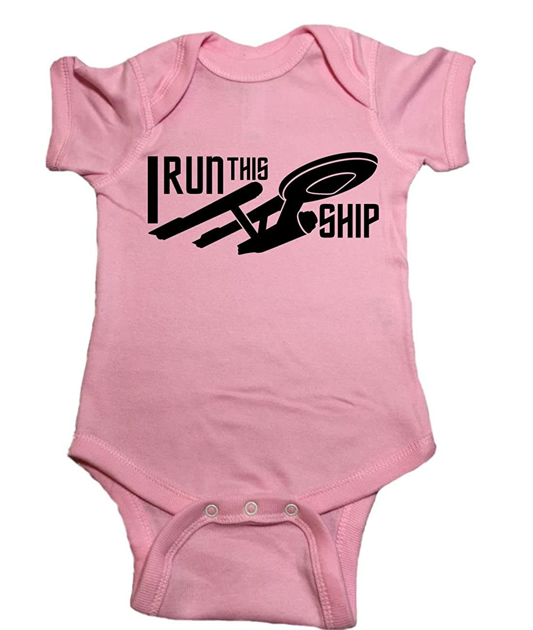 Star Trek One Piece Starship Enterprise I Run This Ship Baby Bodysuit