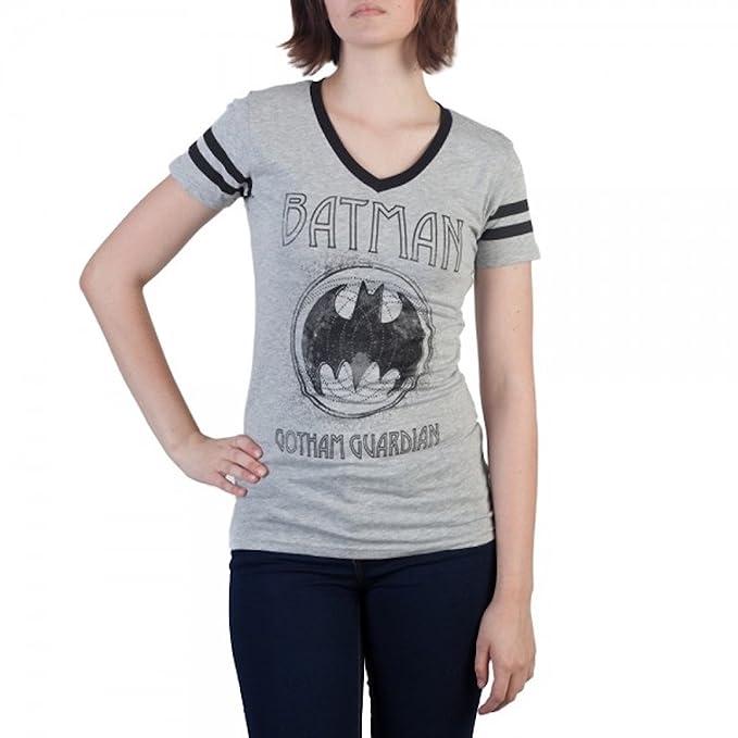 6cd176f7 Amazon.com: Batman Gotham Guardian Varsity V-Neck T-Shirt L: Clothing