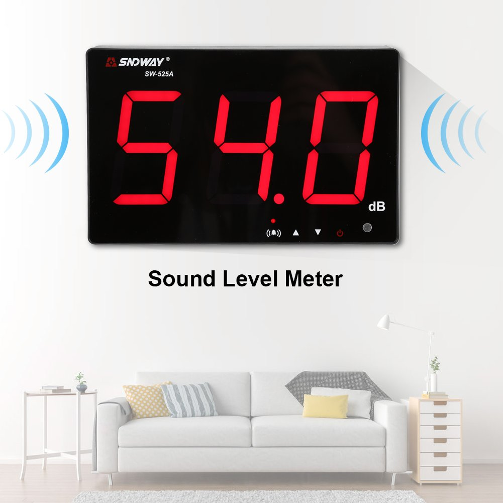 Zerodis Sound Level Meter 30~130db 9.6 LCD Display Wall Hanging Decibel Noise Measuring Tester with Data Logger /& Alarm
