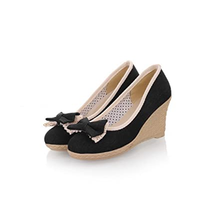 24e69f53b3a WeiPoot Womens Closed Round Toe Kitten Heel Wedges Denim PU Soft Material  Solid Pumps with Bowknot