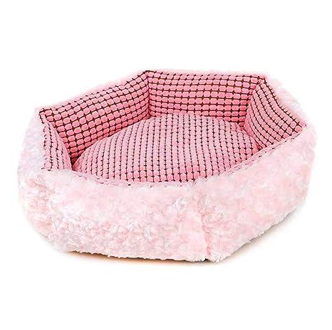 CHENYAJUAN Dog House Perros Camas para Perros Gatos Pequeños Cojines Mats Material Suave Acolchado Rosa Camas