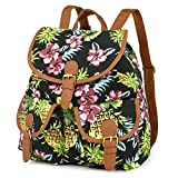 Vbiger Canvas Backpack for Women & Girls Boys Casual Book Bag Sports Daypack (Pineapple Black)