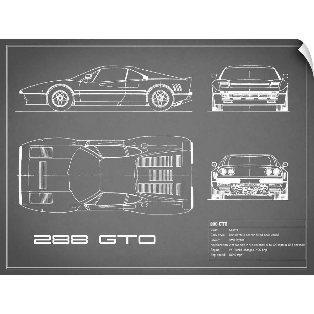 Amazon.com: CANVAS ON DEMAND Mark Rogan Wall Peel Wall Art Print Entitled Ferrari 288-GTO - Grey 24
