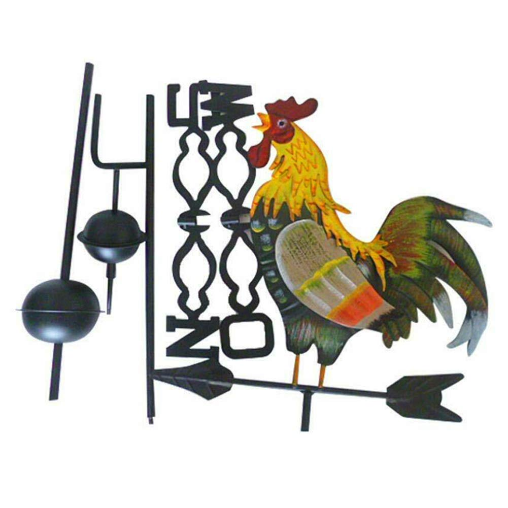 KSTN Iron Structure Colorful Rooster Design Craft Garden Weather Vane Wind Direction 120cm