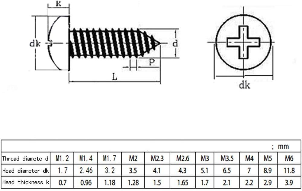 ZEVONDA M5//M6x 10mm-80mm 25pcs Vis autotaraudeuses Vis /à t/ête ronde crois/ées en acier inoxydable 50Pcs//25Pcs//10Pcs//5Pcs M6*40