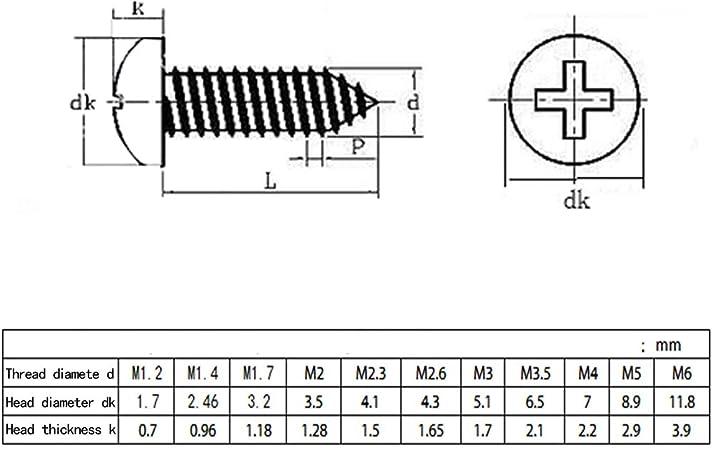Lot de 5/vis /à t/ête frais/ée M2,5/x 4/jusqu/à M12/x 150/avec six pans DIN 7991/A2/en acier inoxydable