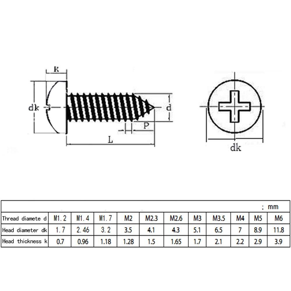 ZEVONDA M1.7 //M2 //M2.2 //M2.3 x Edelstahl-Sicherheits-Kreuzkopfschrauben 100St 4mm-22mm 100pcs M1.7 * 6 Blechschrauben