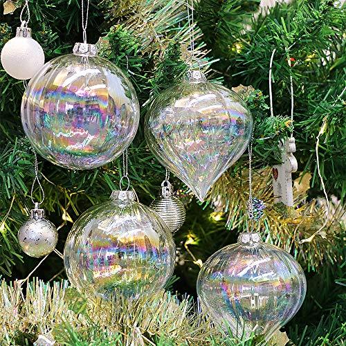eec26316008 Valery Madelyn 4 Piezas 6cm Bolas de Navidad de Cristal Arco Iris  Transparente