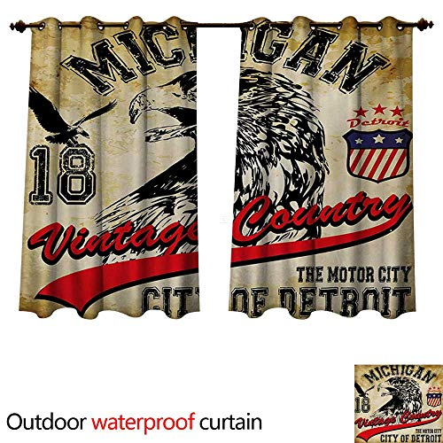 WilliamsDecor Eagle 0utdoor Curtains for Patio Waterproof Hand Drawn City of Detroit Michigan Digital Art with a Portrait of an Eagle W96 x L72(245cm x 183cm) ()