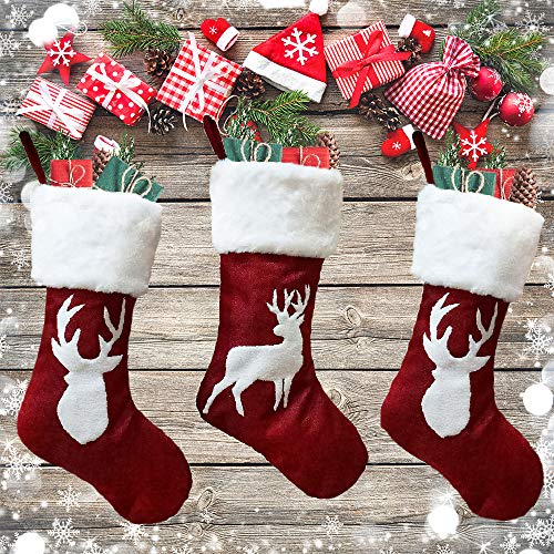 Christmas Stockings Red Reindeer - 3 Pcs Stylish Xmas Stockings Decorations - Classic Family Holiday Decor - Red Elk Embroidery Set with Faux Fur - Christmas stockings Storage for Treats and Gifts