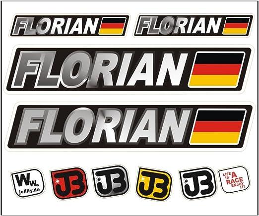 Jollify Florian Auto Fahrrad Motorrad Kart Helm Fahrername Aufkleber Sticker Flagge Sport Freizeit