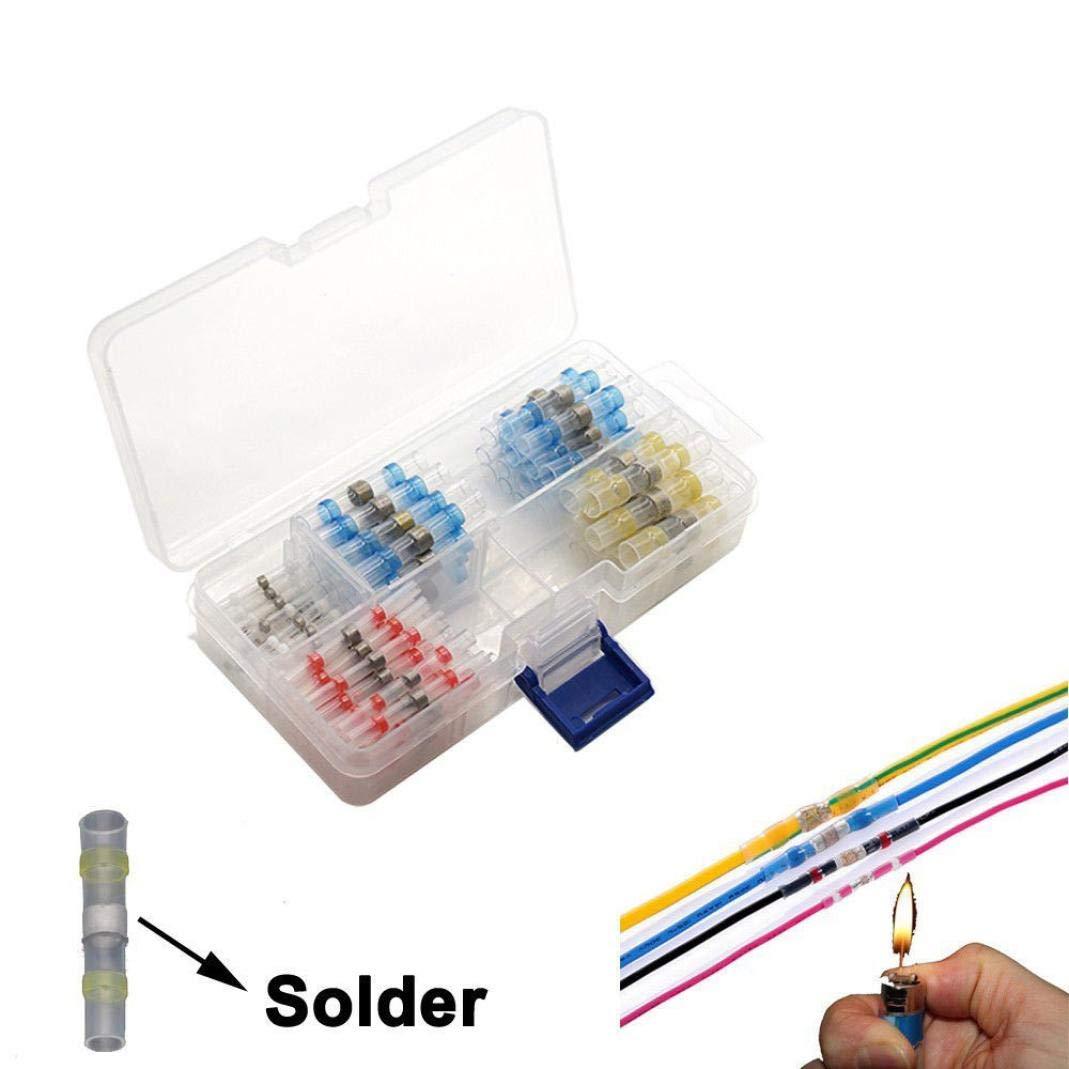 Ecosin 100Pcs Solder Sleeve Heat Shrink Butt Waterproof 26-10 AWG Wire Splice Connector