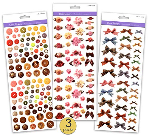 Set of 3 Jumbo Packs - Clear Scrapbook Stickers Featuring Real Photos of Ribbon Roses, Ribbon Bows, Plaid Ribbon Bows, and Buttons - Bulk Pack