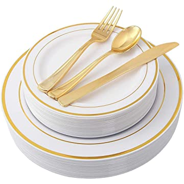 GoodKE Disposable Plastic Dishes Round Plate Tray Wedding Party Supplies Tableware Dish & Tray Dispensers