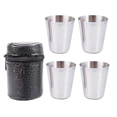 Fantiff Juego de 4 Vasos de chupito de Acero Inoxidable para Beber con Estuche de Cuero Negro (30 ml)