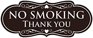 All Quality Designer NO Smoking Thank You Sign - Dark Brown Small