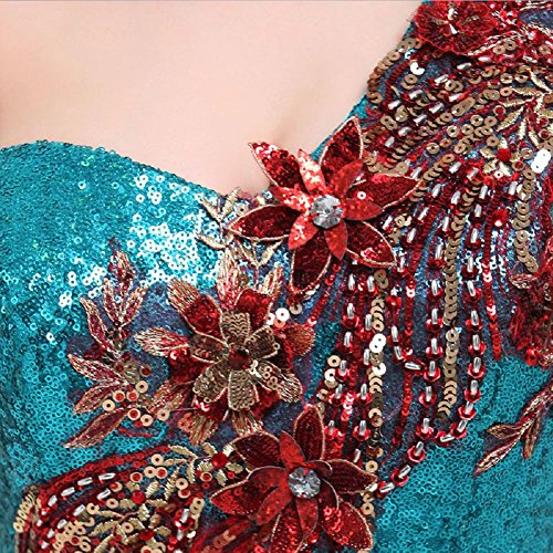 Emily One Blau Kleid Pailletten Party Beauty Zug Schleifen lang Shoulder vwqnHpB