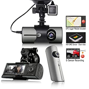 Indigi Must Have! HD Car DVR DualCam (Front+Rear) Driving Recorder Dash Cam GPS Support
